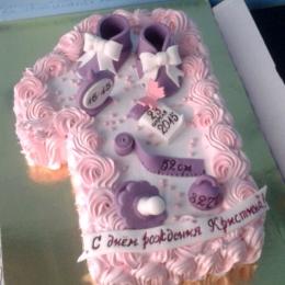 Торт кремовый Единичка розово-фиалетовый_1