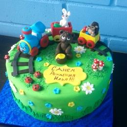 Торт с паровозиком и мишкой_1