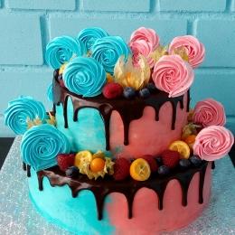 Торт без мастики с фруктами и безе для 2 детей_1