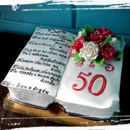 Кремово-мастичний торт Книга с розами_1
