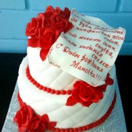 Торт Юбилейный  красно-белый с розами