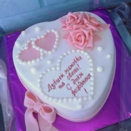 Торт сердце с розами_1