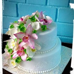 Торт на юбилей с орхидеями_1