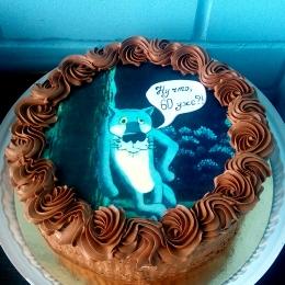 Торт кремовый с волком_1