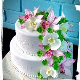 Торт с орхидеями 2 яруса_1
