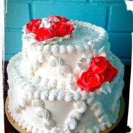 Свадебный торт кремовый. 2 яруса_1