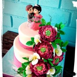 Торт свадебный с цветами_1