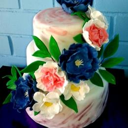Торт свадебный с каскадом цветов_1