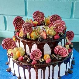Торт с фруктами и безе_1