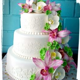 Свадебный торт с орхидеями. Вес 9кг_1