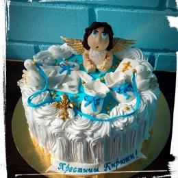 Торт на крещение с ангелом_1