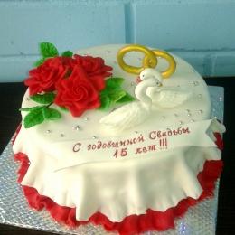 Торт с лебедями и розами_1