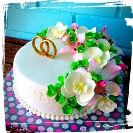 Торт с цветами на годовщину свадьбы _1